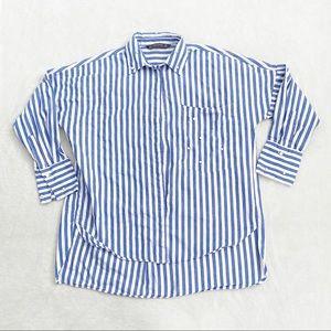 Zara blue & white striped button up w pearl accent